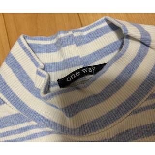 ワンウェイ(one*way)のoneway ♡ハーフネックロンT ストラップ風 ホワイト 水色 M(Tシャツ(長袖/七分))