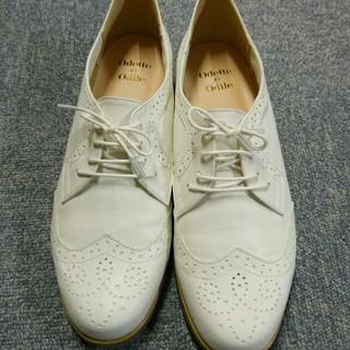 オデットエオディール(Odette e Odile)のホワイトレースアップシューズ(ローファー/革靴)
