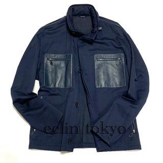 エルメス(Hermes)のエルメス《レザーパッチ ポケット》シャツ ジャケット E1944(ブルゾン)