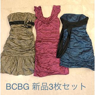ビーシービージーマックスアズリア(BCBGMAXAZRIA)の再値下 新品 BCBG シャーリング ドレス ワンピース ミニ ベア(ミニドレス)