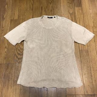 ダナキャランニューヨーク(DKNY)のDKNY ダナキャランニューヨーク 半袖コットンニット セーター M ベージュ(ニット/セーター)