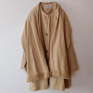 レフィーネ(Refine)の最終*REFINE日本製ショール付きカシミア混ノーカラーウールコート(ロングコート)