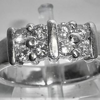 K18WG 18金ホワイトゴールド ダイヤ8ヶ 0.42ct ピンキー(リング(指輪))