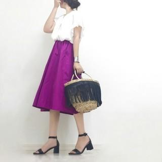 ジーユー(GU)のGU イージーカラーフレアスカート パープル(ひざ丈スカート)