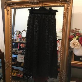 グッチ(Gucci)のGUCCI グッチ グッチ柄 レーススカート  ブラック 美品(ロングスカート)