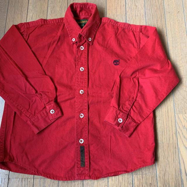 Timberland(ティンバーランド)のティンバーランド 赤 ボタンダウン シャツ キッズ/ベビー/マタニティのキッズ服男の子用(90cm~)(ブラウス)の商品写真