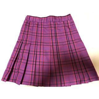 ウィゴー(WEGO)のWE GO プリーツスカート XS 紫 パープル チェック(ミニスカート)