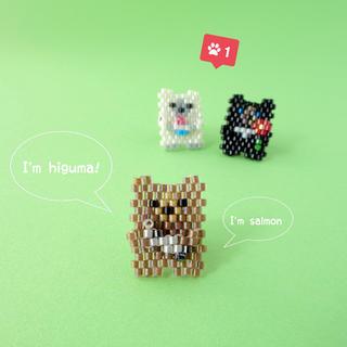 【クマさん】ヒグマのピンバッジ《three bear brothers》(コサージュ/ブローチ)