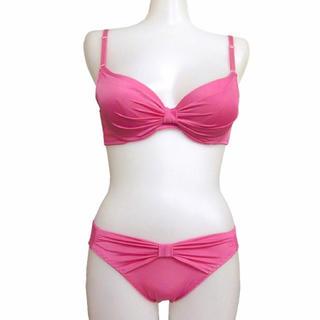 厚盛モールドカップリボン飾りつき ブラジャー&ショーツ (ピンク、ブラ2点セット(ブラ&ショーツセット)
