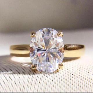 【2カラット 】輝く オーバル モアサナイト ダイヤモンド リング(リング(指輪))