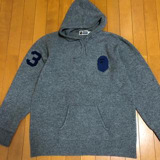 アベイシングエイプ(A BATHING APE)のBAPE XL フード付きニット セーター ウール 猿顔 アベイシングエイプ(ニット/セーター)
