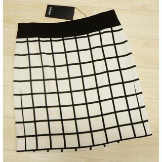 マックスマーラ(Max Mara)のマックスマーラ デザインスカート ブラック×ホワイト(ミニスカート)