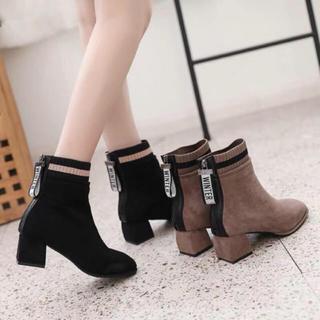ブーツ 歩きやすい 太ヒール 大きいサイズ ショートブーツ ローヒール 裏起毛(ブーツ)
