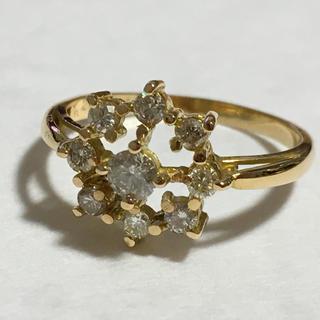 ゴールド ダイヤモンドリング K18 雪の結晶✨✨(リング(指輪))