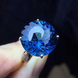 10.25ct ブルートパーズ ダイヤモンド リング k18(リング(指輪))