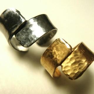 オリジナル(Original)の◯真鍮とステンレスイヤーカフ ツイストライン◯ハンドメイド(イヤーカフ)