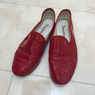 レペット(repetto)のrepetto レッド エナメル  ローファー 37(ローファー/革靴)