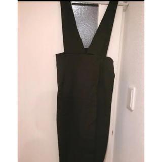 ドゥアルシーヴ(Doux archives)のサロペット ワンピース ジャンパースカート 新品未使用 黒(ひざ丈ワンピース)