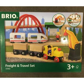 ブリオ(BRIO)の中古 BRIO freight&travel set ブリオ 電車レールセット(電車のおもちゃ/車)