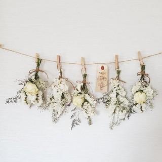 特大ボリューム1輪バラとホワイト小花のドライフラワースワッグガーランド(ドライフラワー)