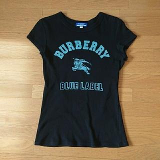 バーバリーブラックレーベル(BURBERRY BLACK LABEL)の・ブルーレーベル ティーシャツ レディース 黒(Tシャツ(半袖/袖なし))