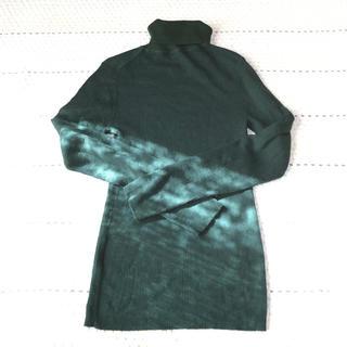ムジルシリョウヒン(MUJI (無印良品))の無印良品 リブニットセーター 緑 XLサイズ(ニット/セーター)