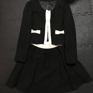 ユメテンボウ(夢展望)のセットアップリボン付き ツイード黒(スーツ)