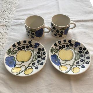 アラビア(ARABIA)のアラビア パラティッシ コーヒーカップ&ソーサー 2客セット 旧ロゴ(グラス/カップ)