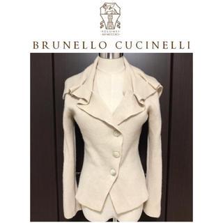 ブルネロクチネリ(BRUNELLO CUCINELLI)の本物 美品 ブルネロクチネリ ドレープ襟 カシミヤ100% ニット カーディガン(カーディガン)