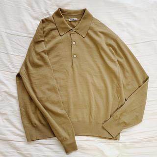 コモリ(COMOLI)の【値下】AURALEE オーラリー ニットポロシャツ キャメル(ニット/セーター)