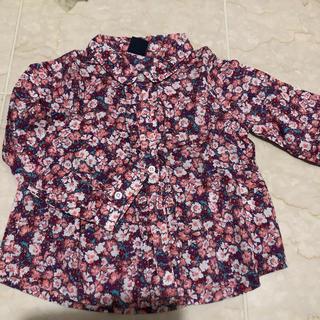 ベビーギャップ(babyGAP)のbaby gap パープル ピンク ホワイト 花柄フリルシャツ 90cm(ブラウス)
