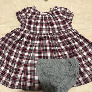 ベビーギャップ(babyGAP)のbaby gap 袖付きチェック柄 ワンピース80cm(ワンピース)