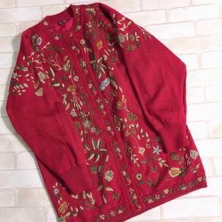 グリモワール(Grimoire)の赤 立体刺繍 花柄 チロリアン風 ロングニットカーディガン ヴィンテージ 古着(カーディガン)