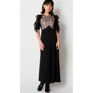 リリーブラウン(Lily Brown)の新品 タグ付き リリーブラウン フリル ドレス ワンピース ベージュ ブラック黒(ロングドレス)