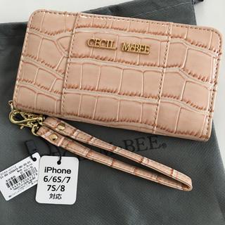 セシルマクビー(CECIL McBEE)の新品 セシルマクビー クロコ型 手帳型 iPhoneケース ベージュ(iPhoneケース)