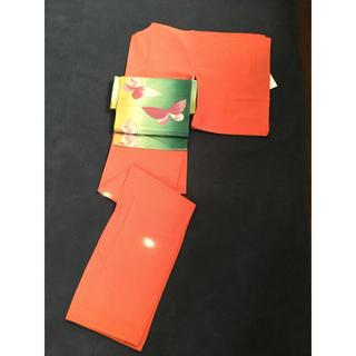 ふりふ - オレンジ色の江戸小紋がポップで可愛い♫コーデしやすい袷着物★丸洗い済み中古美品