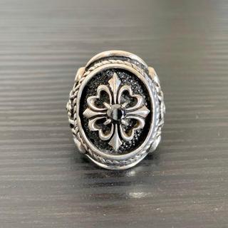クロムハーツ(Chrome Hearts)のレザーズアンドトレジャーズ オーバルベゼルリング ストーンクロス ブラックダイヤ(リング(指輪))