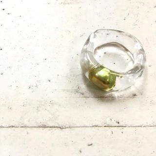 クリアリング メタルグリーン パール リング いびつ 約12号(リング(指輪))