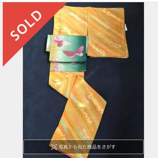 ふりふ - ハッピーでリズミカルな地紋と色柄♫可愛くてコーデしやすい袷着物★丸洗い済中古美品