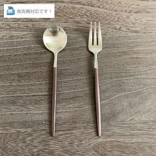 インスタ映え!オシャレなコーヒースプーン&デザートフォーク(ブラウン×シルバー)(カトラリー/箸)