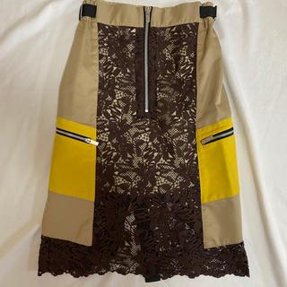 サカイ(sacai)のsacai バイカラーレースタイトスカート 2019(ひざ丈スカート)