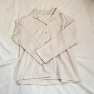 韓国 ニットシャツ アイボリー(シャツ/ブラウス(長袖/七分))