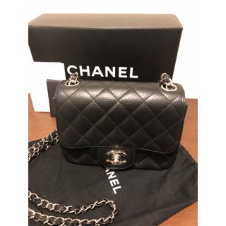 シャネル(CHANEL)のシャネルミニマトラッセキャビアスキン美品黒✖️シルバーチェーン(ショルダーバッグ)