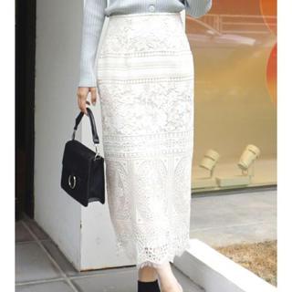 マーキュリーデュオ(MERCURYDUO)のMERCURYDUO 配色ケミカルレースタイトスカート(ロングスカート)