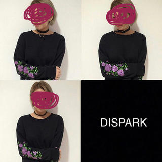 ウィゴー(WEGO)のdispark 花刺繍 トレーナー(トレーナー/スウェット)