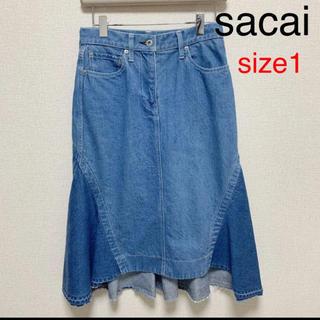 サカイ(sacai)のsacai デニム スカート ロング マキシ(ひざ丈スカート)