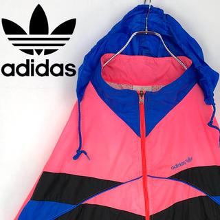 アディダス(adidas)のアディダス 90s デカロゴ ネオンカラー ナイロンジャケット ブルゾン刺繍ロゴ(ナイロンジャケット)
