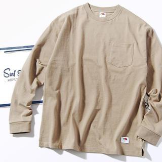 ロンハーマン(Ron Herman)のFruit Of The Loom ビッグロンT Tシャツ ベージュM 長袖(Tシャツ/カットソー(七分/長袖))