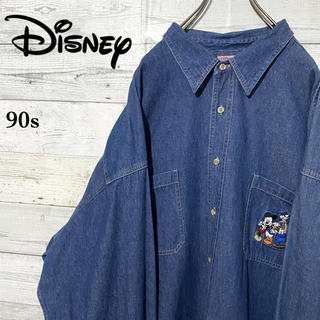 ディズニー(Disney)の【激レア】ディズニー☆刺繍ワンポイントロゴ ビッグサイズ デニムシャツ(シャツ)