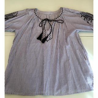 チャオパニックティピー(CIAOPANIC TYPY)のストライプの刺繍シャツ(シャツ/ブラウス(長袖/七分))